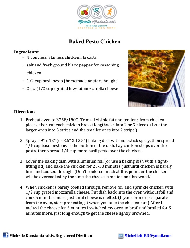 Recipe - Baked Pesto Chicken - Michelle
